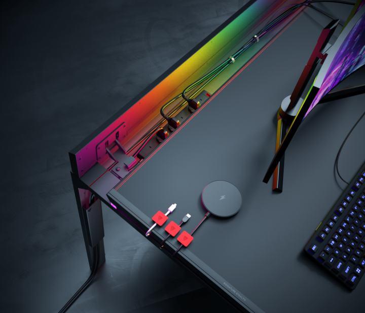 ステンレス製のゲーミングデスクは、マグネットでケーブルの絡まりを防止します。