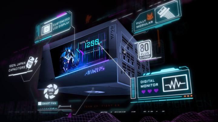 ギガバイト、カラーモニター内蔵の1200W PSUを発売