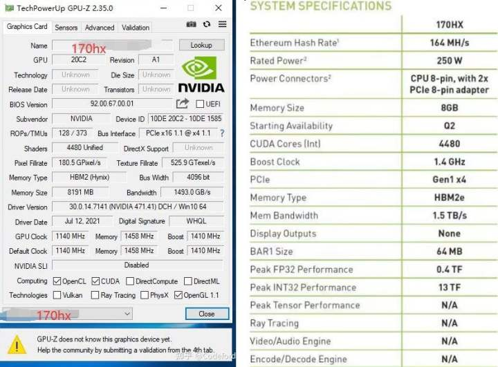 Photographs and screengrabs from the GA100-based Nvidia CMP 170HX