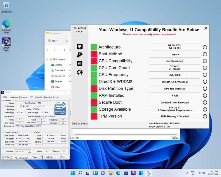 Windows 11は、2006年のシングルコアIntel Pentium 4CPUで実行および更新されます。